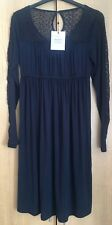 Mamalicious Size S (UK8) Navy Blue Maternity Dress Long Lace Sleeves Jersey