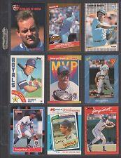 GEORGE BRETT ~ Lot of (9) Different Baseball Cards w/ Display Sheet (L619)