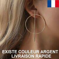 Boucle D'oreille Créole Géométrique Cercle Grande Doré Ou  Argentée Cadeau Mode