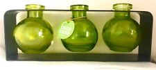 "Couronne Co. 3 Glass Ball Small Rooter Vase (s) w/metal Stand - 9.5x4"" Green"