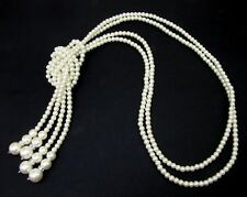 Long double strand white glass pearl lariat necklace with crystals - NEW