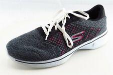 Skechers Goga Mat Size 7.5 M Gray Lace Up Walking Fabric Wmn Shoe