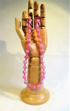 CG4887... BRIGHT PINK FROSTED AGATE BEADED NECKLACE - FREE UK P&P