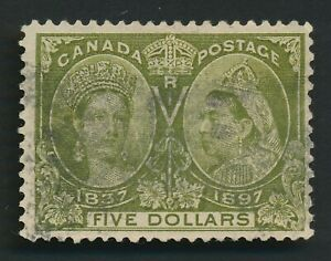 CANADA STAMP 1897 QV $5 JUBILEE GREEN Sc #65 $1100, F/VFU