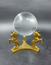 More details for vintage unicorn brass crystal ball stand with 2 inch diameter glass sphere