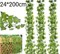 24x2m Efeugirlande Efeubusch Grünpflanze Künstliche Kunstpflanze Garten Deko