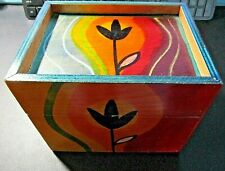 Rare KAKADU Sunset Hand Painted/Signed by Ruet Shahar Hinged Wood Box-Israel