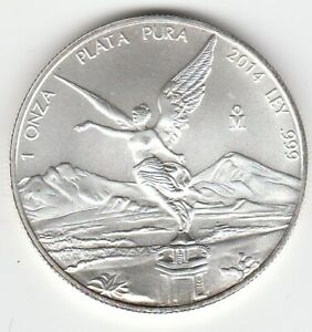 2014 1 oz Mexican Silver Libertad Only 429,200 Minted .999 Plata Pura