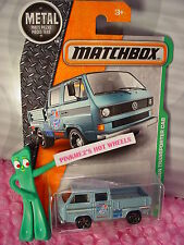 2016 MATCHBOX #95 VOLKSWAGEN TRANSPORTER CAB☆Blue VW; Bike☆empty bed☆EXPLORERS☆