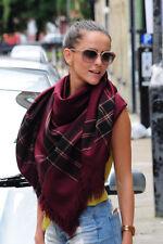 Burgundy Oversized Blanket Zara Check Plaid Scarf Shawl Wrap Winter Xmas Gift