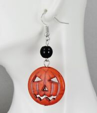orange Pumpkin Jack o Lantern Halloween dangle earrings jewelry autumn fall