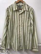 PLANET EARTH  Button-up Long Sleeve Green Striped Shirt  Size L Large
