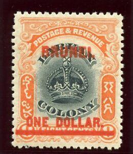Brunei 1906 KEVII $1 on 8c black & vermilion MLH. SG 22. Sc 12.