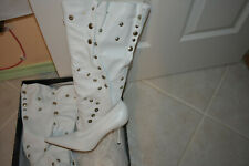 NEW In Box DOLCE & GABBANA RARE WHITE SLOUCHY SNAP KNEE HIGH BOOTS 39