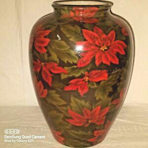 "Otagiri Originals 1993 Poinsettia Florals Red Green 14"" Christmas Décor Vase"