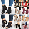 Womens Block Mid High Heel Chunky Sandals Open Toe Ankle Strap Boots Shoes Sizes