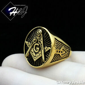 MEN Stainless Steel Silver/Black/Gold MASONIC Master Oval Ring Size 8-13*R124