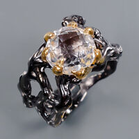 Quartz Ring Silver 925 Sterling Jewelry Fine ART Size 9 /R141547