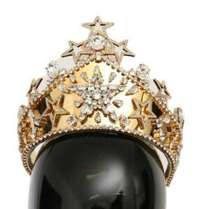 DOLCE & GABBANA Tiara Gold Crystal Star STRASS Crown Logo Diadem