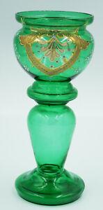 Antique Moser Bohemian Art Nouveau Green Gilded Enamelled Vase