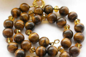 22 inches 10MM Natural Tiger's Eye Round Beads Yellow Crystal Necklaces AA