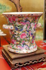 Chinese Rose Famille  Porcelain Planter  Orchid  Pot 22k Gilt (D4)