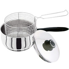 3PC CHIP PAN WITH LID & BASKET STAINLESS STEEL 20CM CHIPPAN FRYER POT SILVER NEW