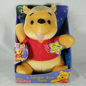 Fisher Price Twinkle Bee Pooh 2003 Plush Bear Lights Up & Plays Songs
