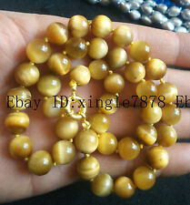 New 8mm Natural Gold Tiger's Eye Gemstone Beads Round Necklace 18'' AAAA