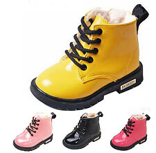 Children Boy Girl Fur Lined Martin Boots Waterproof Antiskid Faux Leather  Shoes