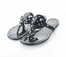 24-34 $198 Women's Sz 9 M Tory Burch Miller Patent Leather Flip Flop Sandals