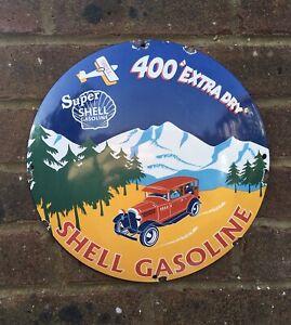 DECORATIVE VINTAGE ENAMEL SHELL GASOLINE SIGN SUPER SHELL 400 EXTRA DRY