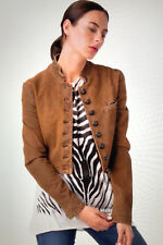 DIESEL 100% SUEDE LEATHER WOMEN MILITARY STYLE JACKET FADED BROWN NWT S $1476