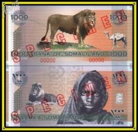 Billet SPECIMEN Somaliland 1000 Shillings 2006 Currency UNC Lion Camel