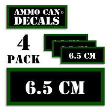 """6.5 CM Ammo Can 4x Labels Ammunition Case 3""""x1.15"""" stickers decals 4 pack"""