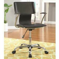 Modern Home Office Task Swivel Executive Chair Black Leatherette Chrome Casters