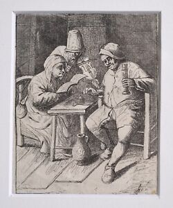 19C etching after Old Master Adriaen Ostade Tavern Scene The Concert w Violin