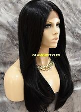 Long Straight Layered Off Black Lace Front Full Wig Heat Ok Hair Piece #1B NEW