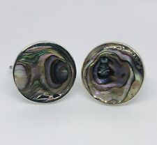 1940s Vintage Abalone Shell Pearl Cuff Links 925 Silver Handmade TAXCO Mexico