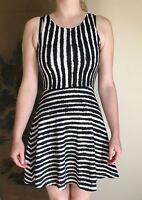 H&M zebra stripe black white stripy striped fitted skater dress 8