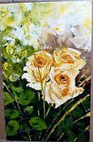 Yellow roses on canvas by Peter Bwabye