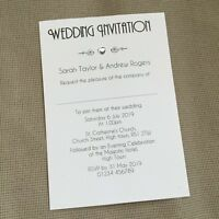 10 Personalised Wedding Evening Invitations Invites Gem Heart Vintage Art Deco