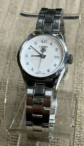 TAG Heuer Carrera Quartz 27mm Ladies Mother Of Pearl Diamond Watch WV1411