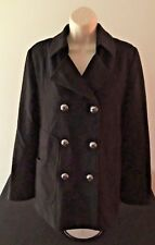 Via Spiga Womens Black Wool Double Breasted Coat Size 10