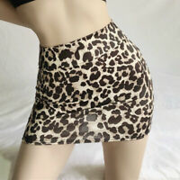 Micro Mini Sheer Skirt Sexy Leopard See Through Silky Short Night Club Wear Slim