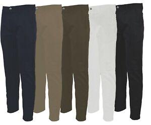 Mens Casual Slim Fit 100% Cotton KAM Chino Trousers Golf 32-48 Leg 29 31 33