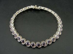 Purple Amethyst Color Stones Sterling Silver 925 Tennis Link BRACELET
