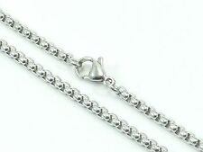 """Mens Womens Link Chain Rolo Necklace Stainless Steel 316L 30"""" 3mm 20g Unisex"""