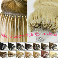Indien Extensions de Cheveux Humains Naturels Rémy EASY LOOP micro-anneaux 7AAAA