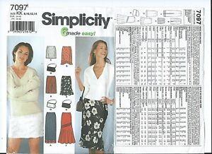 S 7097 sewing pattern 6 stylish SKIRTS chic PURSE BAG sew sizes 8,10,12,14 UNCUT